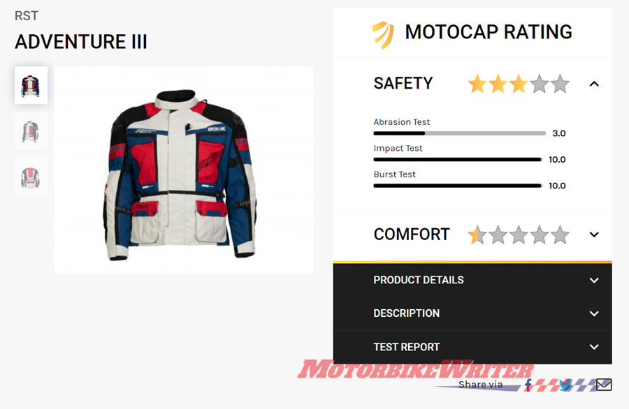 MotoCAP now rates more than 200 items