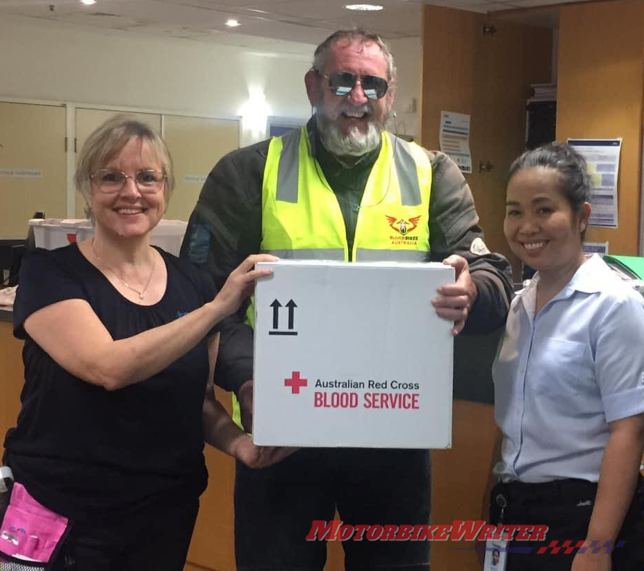 Peter delivers blood supplies to the Mater Hospital