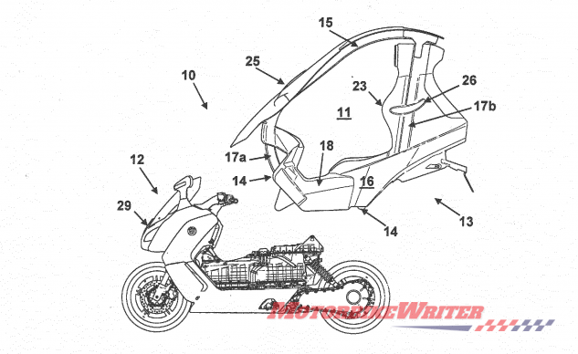 BMW patents scooter with roof