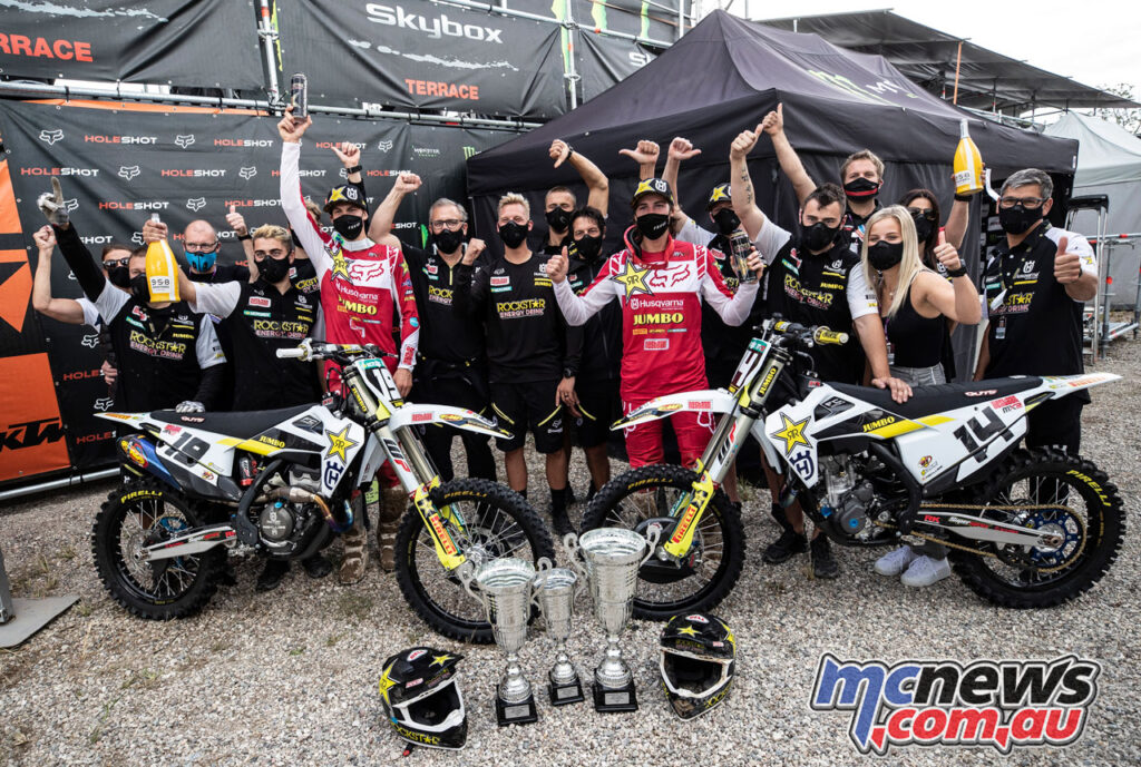 Jed Beaton and Thomas Kjer Olsen celebrate a successful MXGP of Lombardia