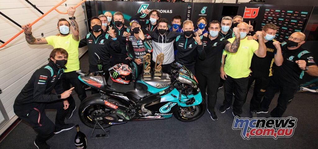 Fabio Quartararo celebrates victory with the Petronas SRT Team