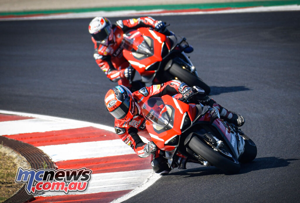 Ducati riders proved a little more restrained learning the track