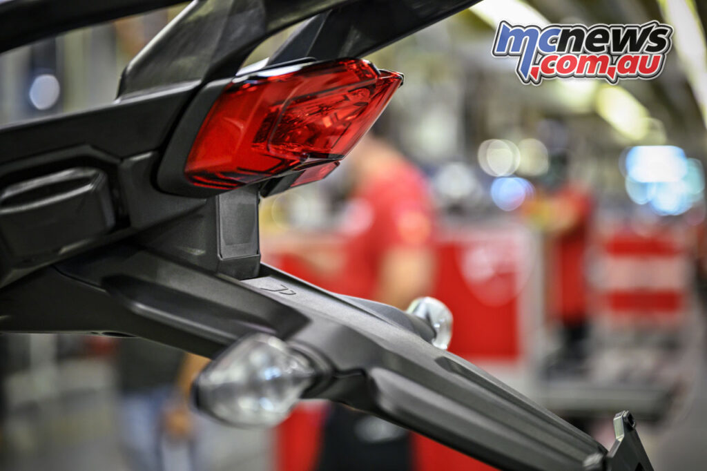 The radar system incorporated into the tail of the Multistrada V4