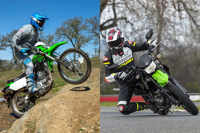 We test two new models from Kawasaki: the KLX300 dual-sport (MSRP $5,599) and the KLX300SM supermoto (MSRP $5,999). Both are powered by a 292cc DOHC liquid-cooled four-valve fuel-injected single borrowed from the KLX300R off-road bike.