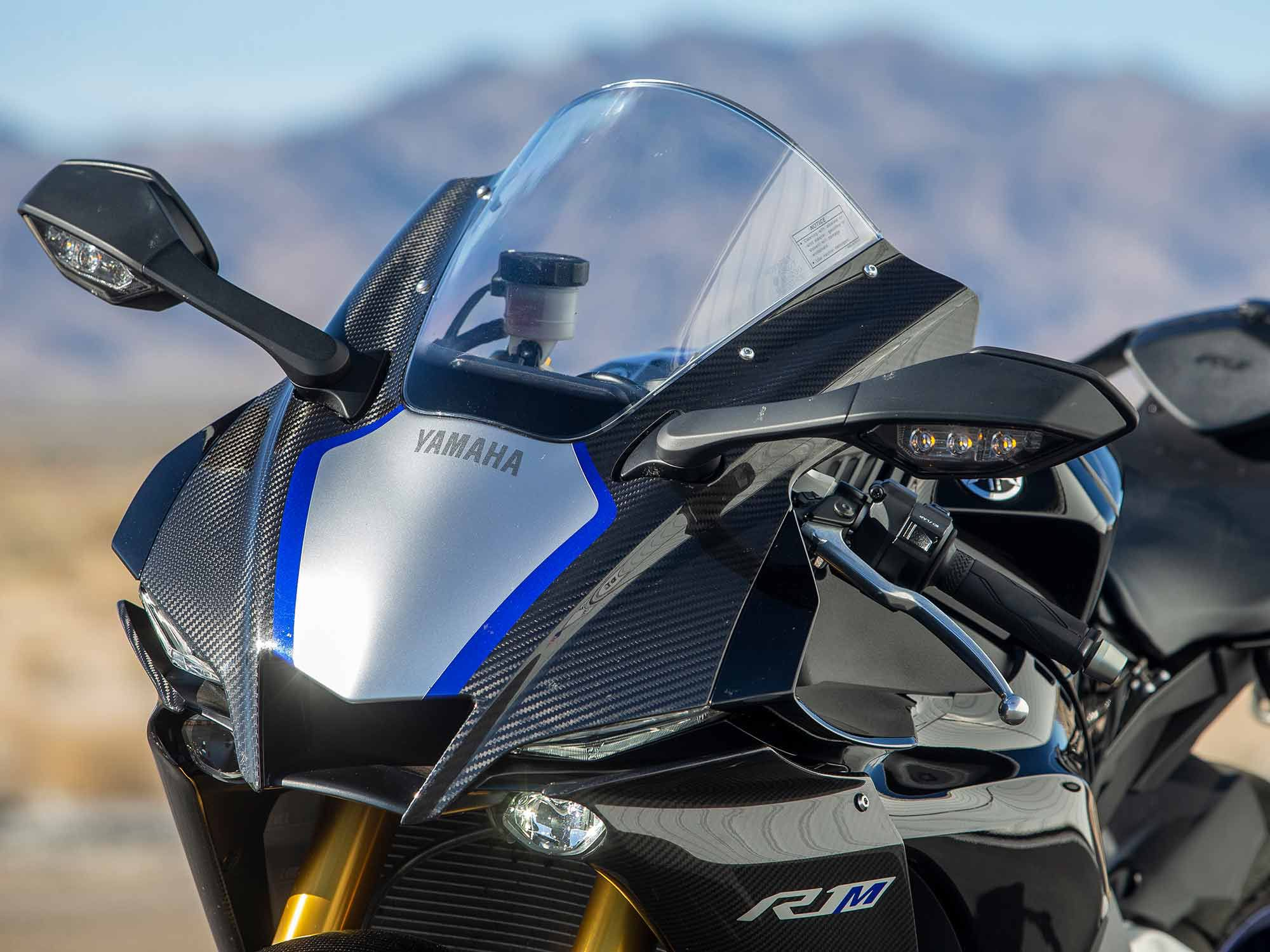 Draped in full carbon fiber bodywork (including the tail section), Yamaha's YZF-R1M looks like a bespoke piece of hardware for cruising around the street, or, setting fast lap times at the circuit.
