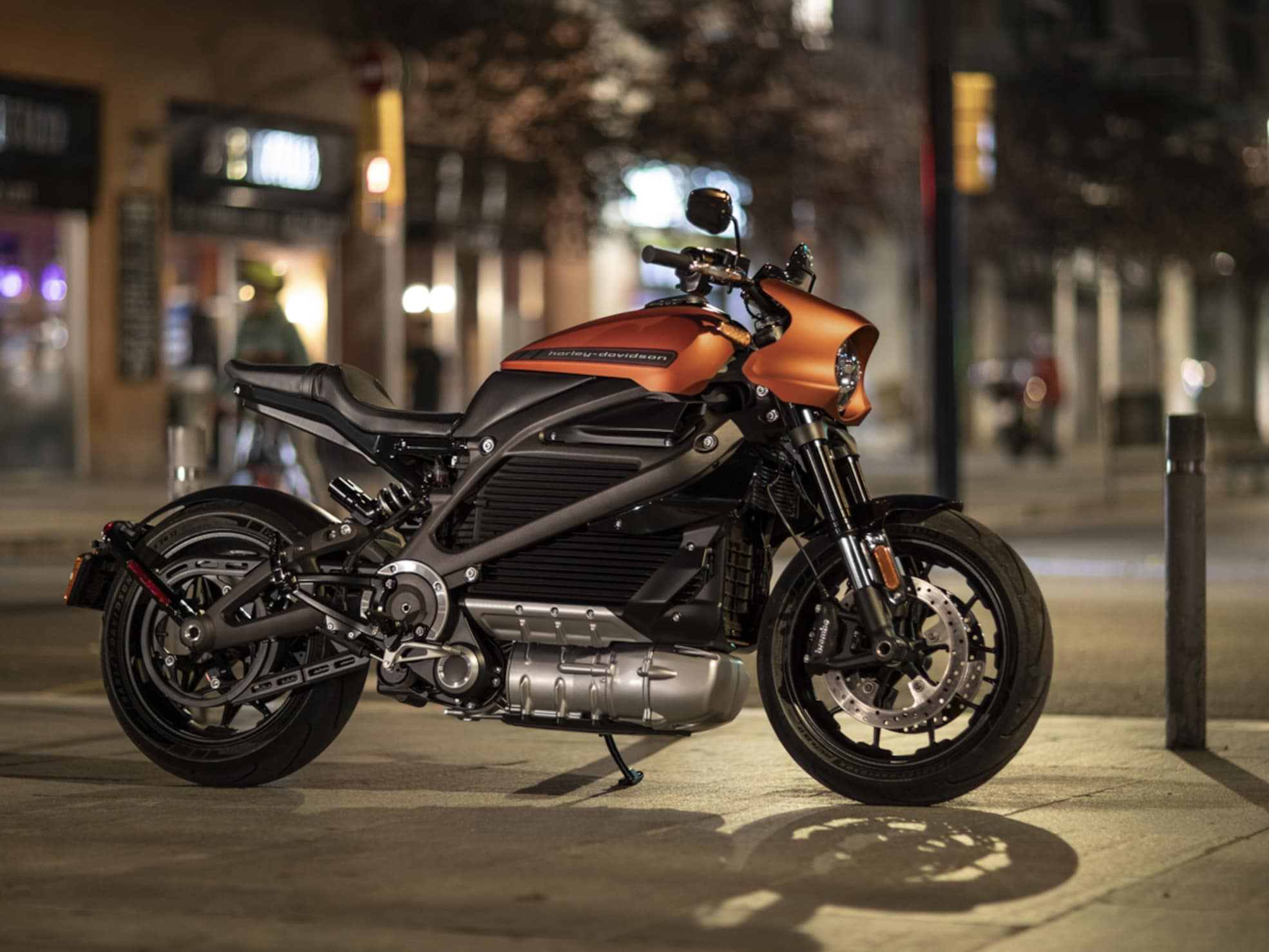 Harley-Davidson LiveWire Electric motorcycle at night on street