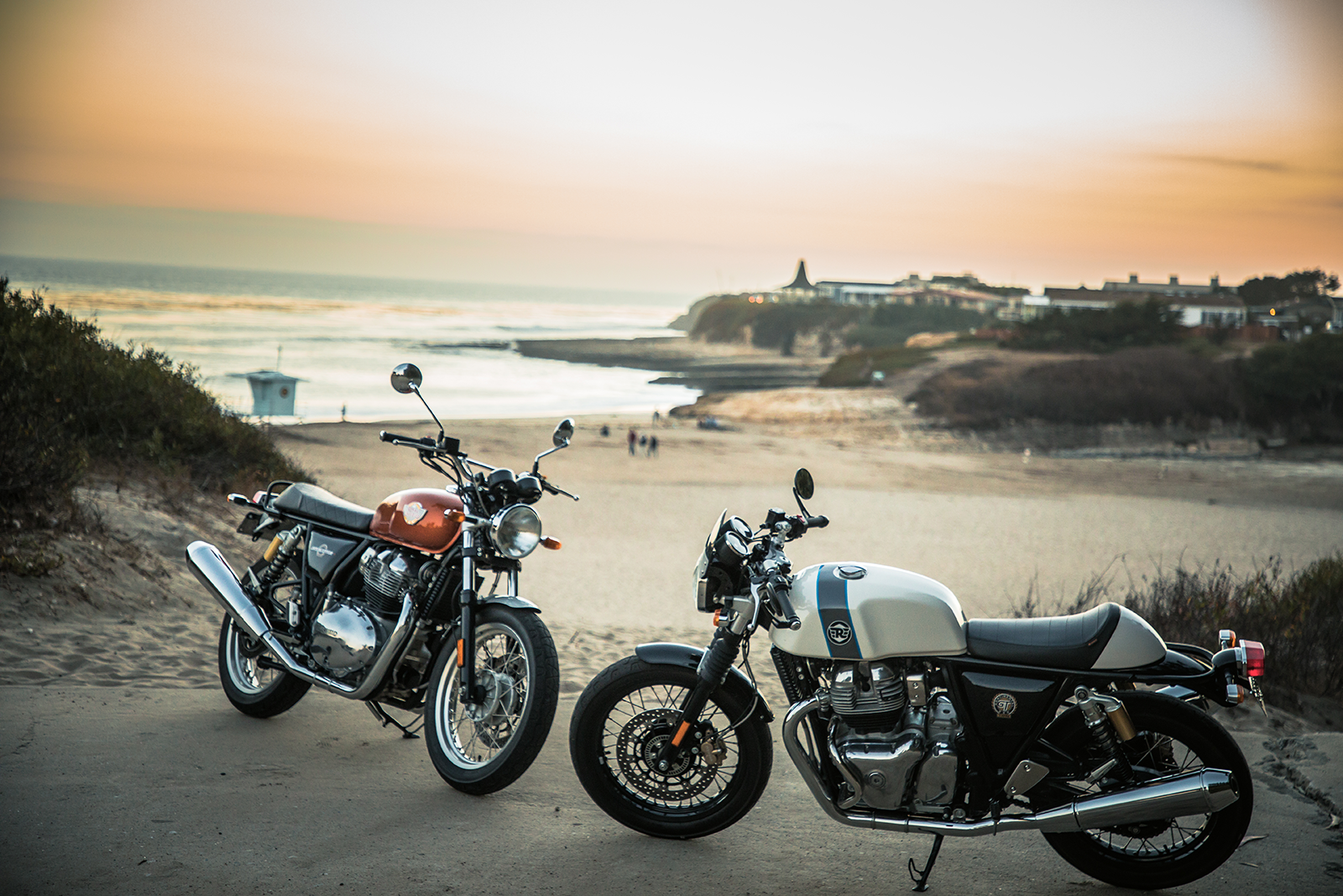 Royal Enfield Motorcycles at Beach for Sunset
