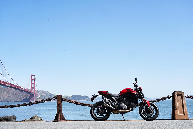 021 Ducati Monster review price red Golden Gate Bridge