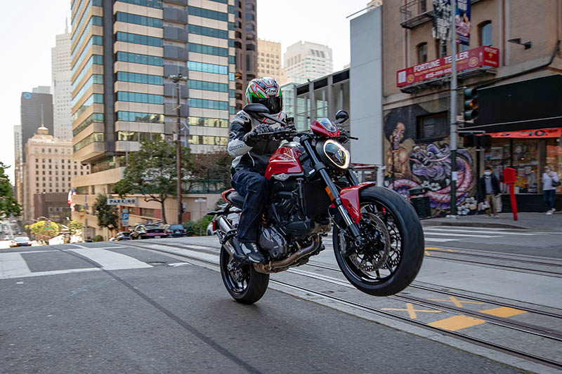 2021 Ducati Monster review price red wheelie