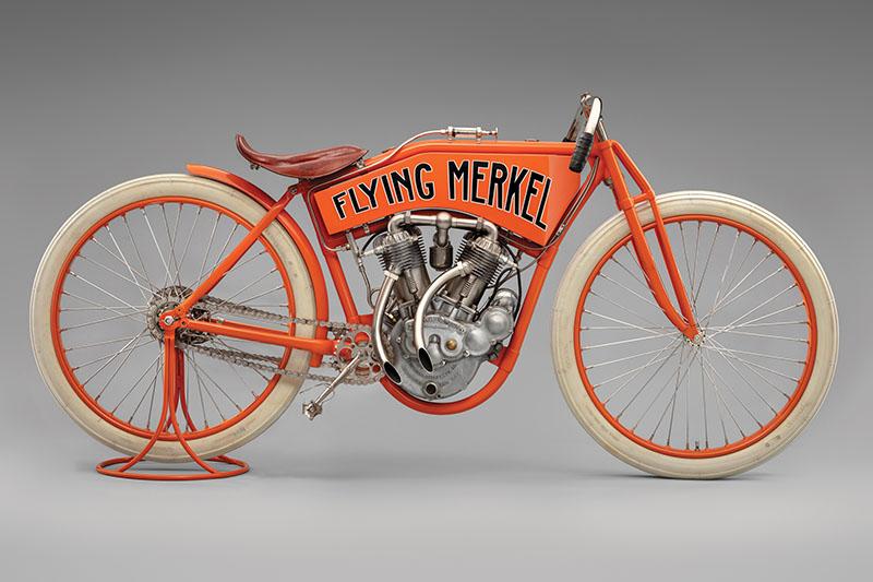 SFO Museum Early American Motorcycles 1912 Flying Merkel Twin-Cylinder Racer