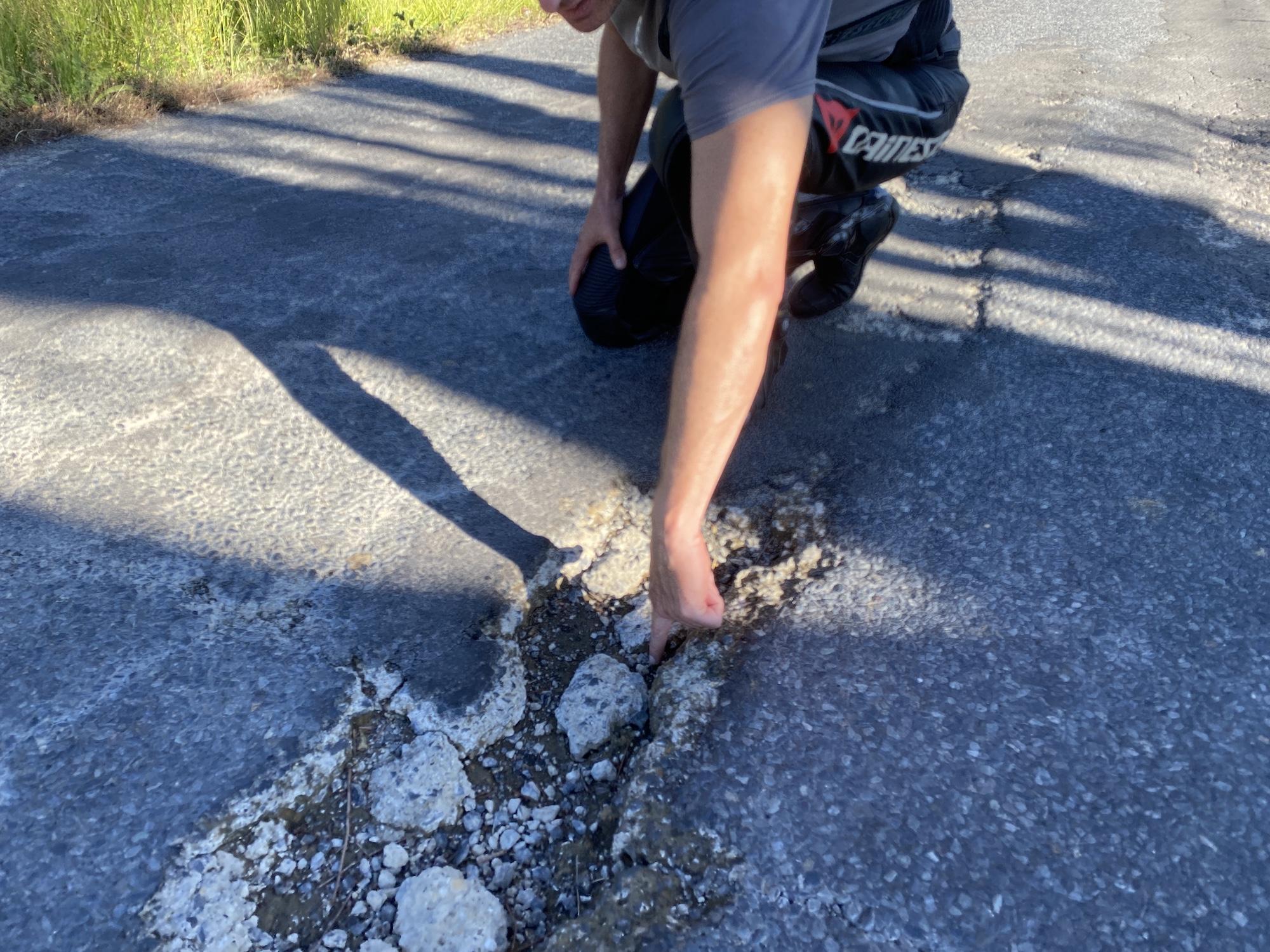 tyre puncture pothole ruts roadworks