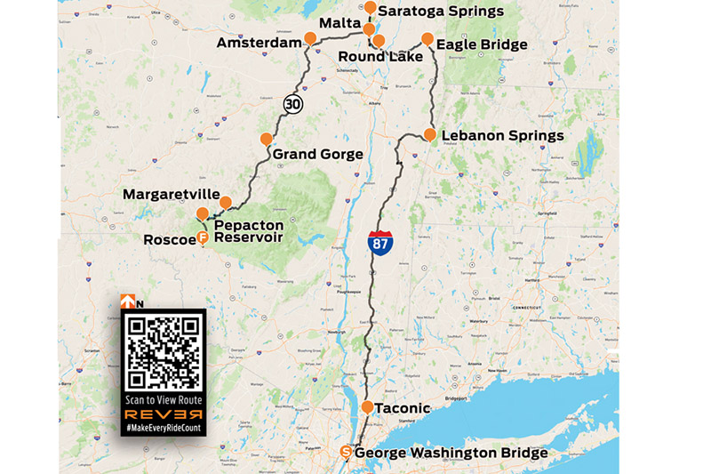 Upstate New York motorcycle tour REVER map