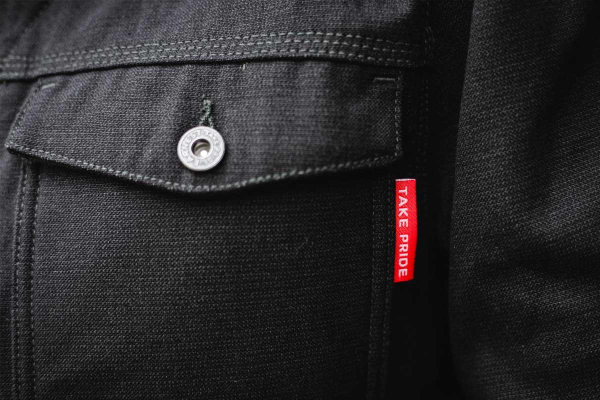 Earnest Co. 'Smiths' K-Canvas Moto Workwear Jacket pocket detail