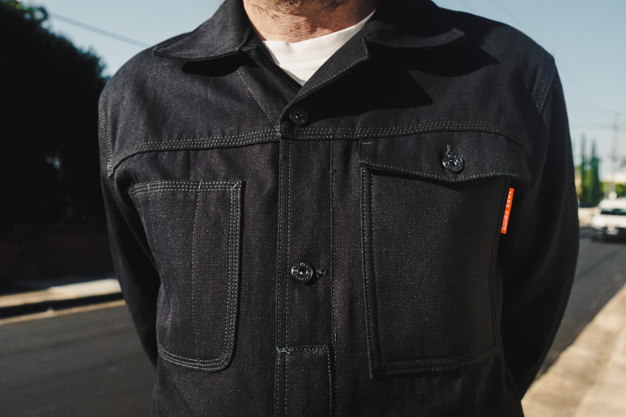 Earnest Co. 'Smiths' K-Canvas Moto Workwear Jacket detail