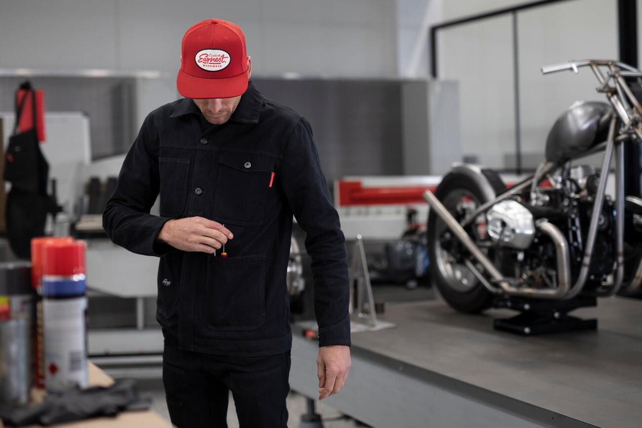 Earnest Co. 'Smiths' K-Canvas Moto Workwear Jacket