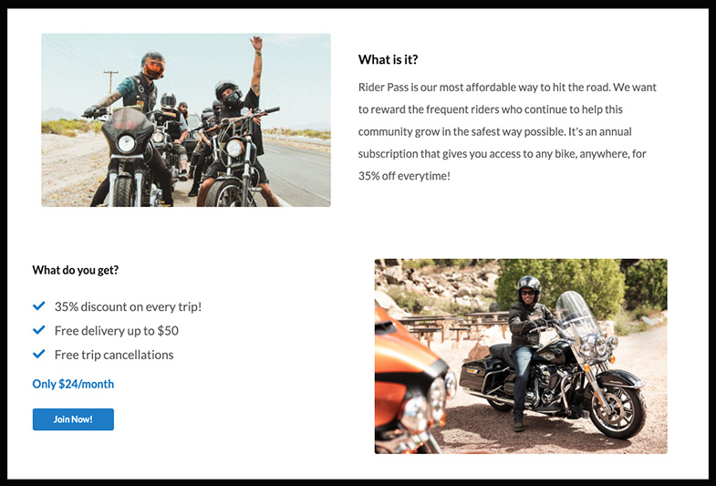 Riders Share Ride Pass review motorcycle rental subscription service