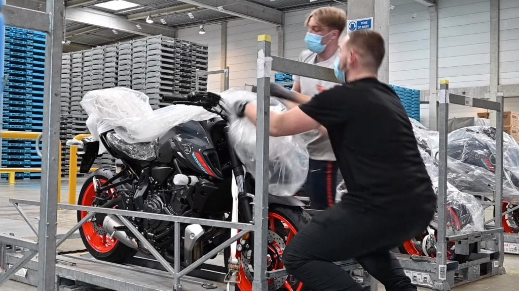 a picture of new Yamaha bikes during production shortage