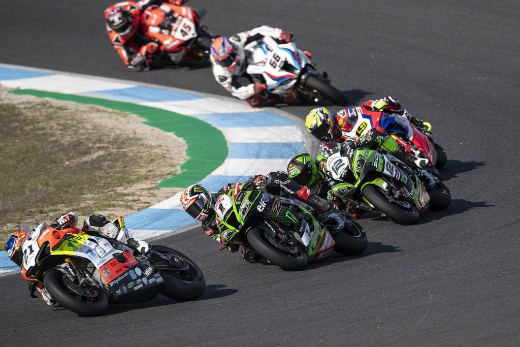 Racers Compete Against Each Other in World Superbike Race
