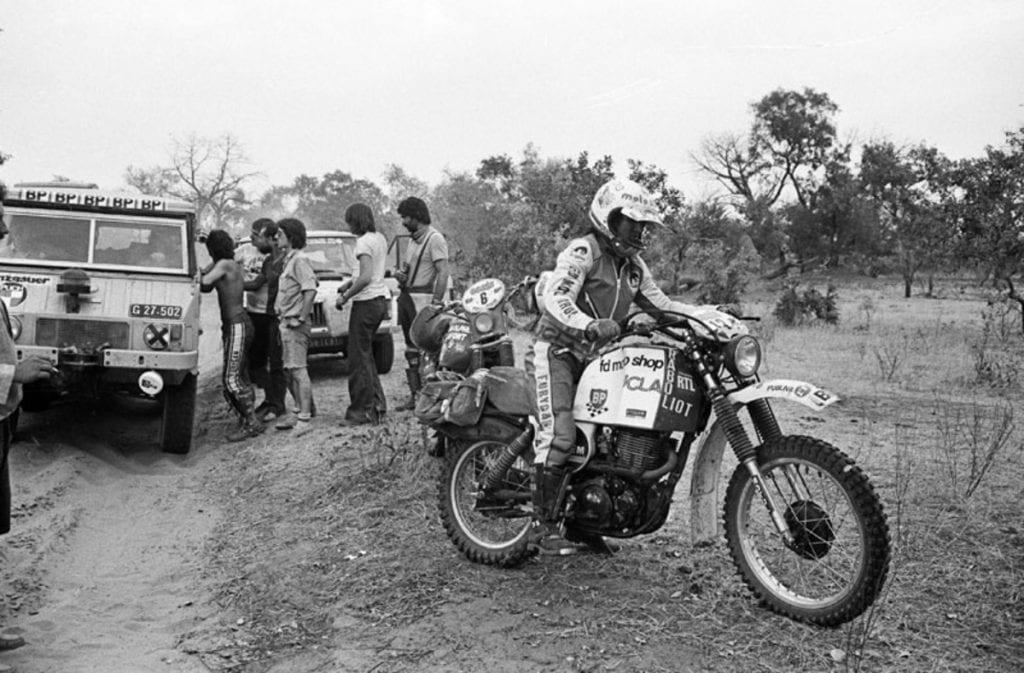 CYRIL NEVEU, winner of the 1979 first Motorbike Dakar Rally, on a Yamaha