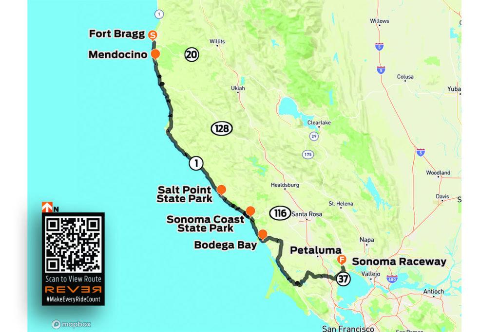 Open Road to Progressive IMS Outdoors Northern California Ride Sonoma Raceway REVER map