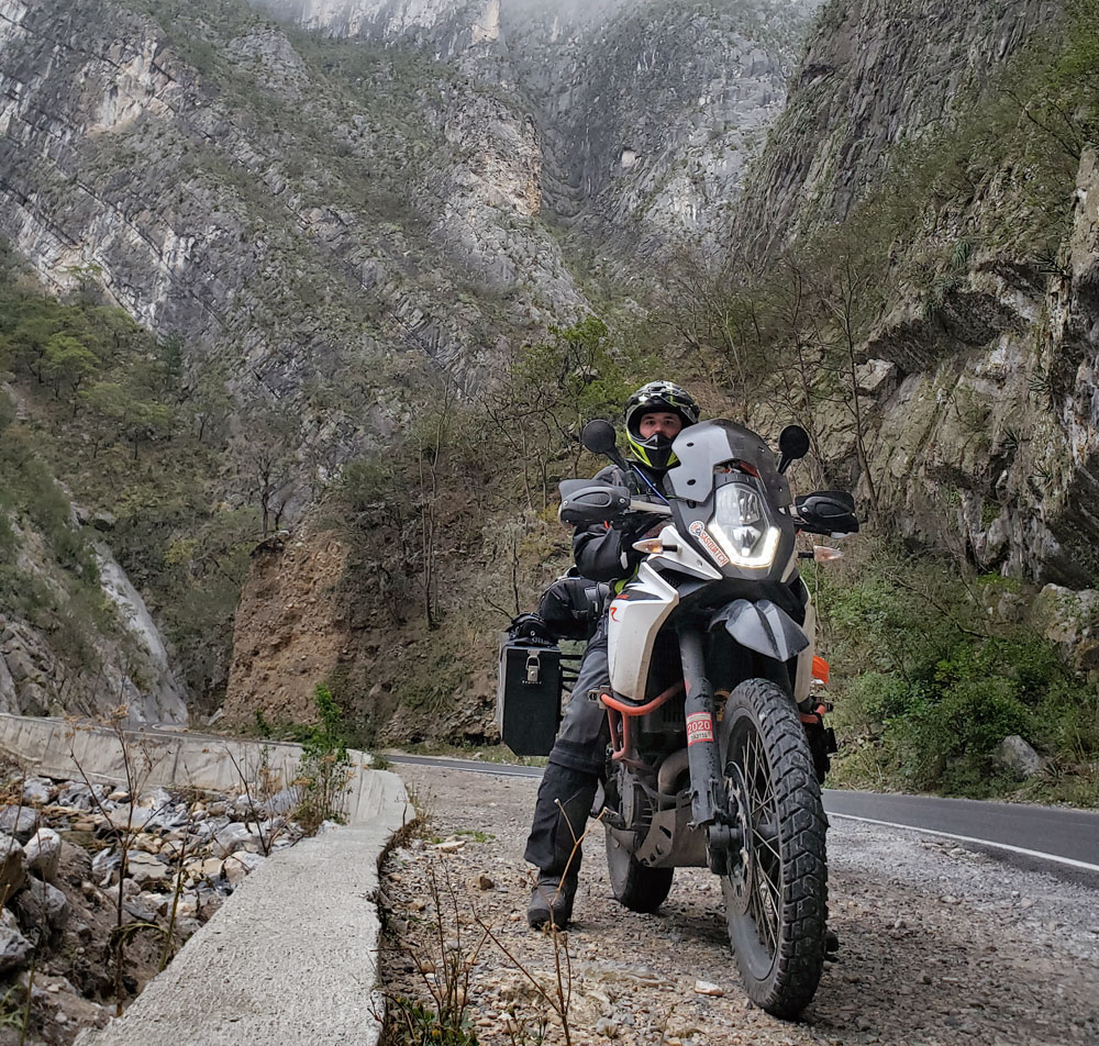 A rider takes his KTM motorcycle on a long trip in Norway