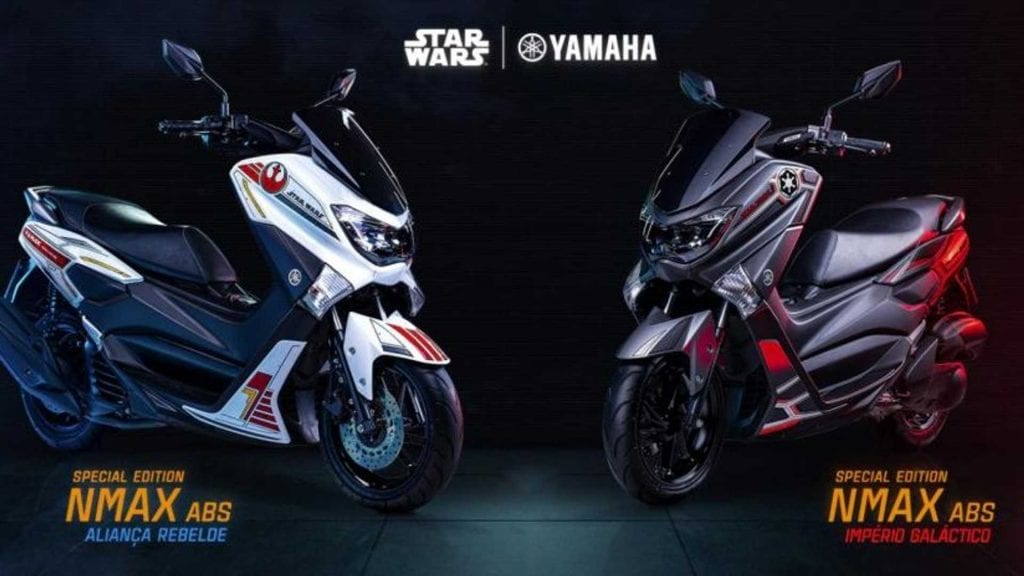 a side profile of the two Star Wars themes scooters available in Brazil by Yamaha and Lucas Films