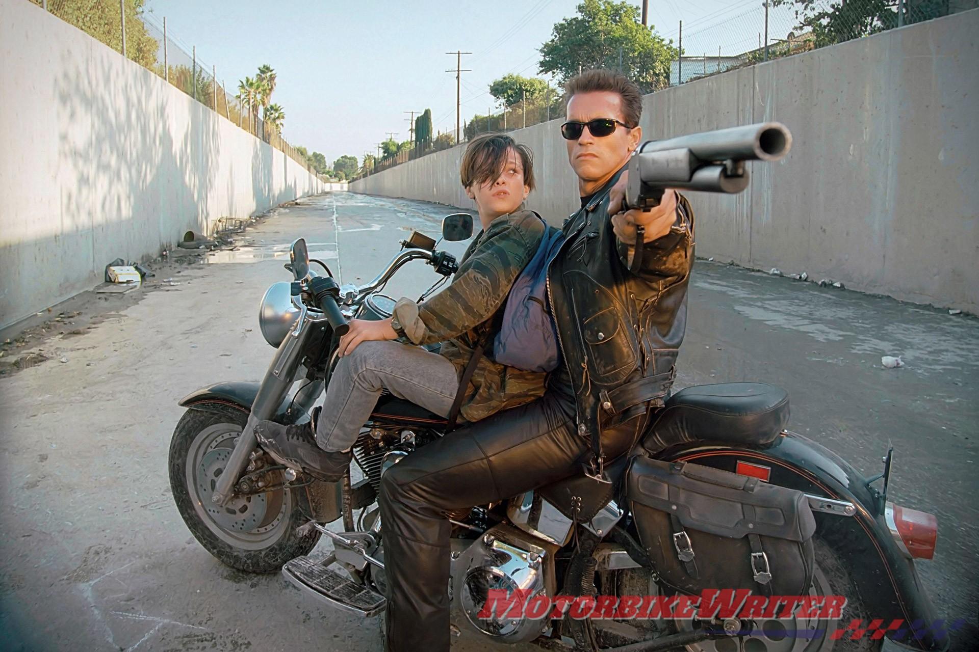 Terminator 2 Harley-davidson Fat Boy ridden by Arnold Schwarzenegger