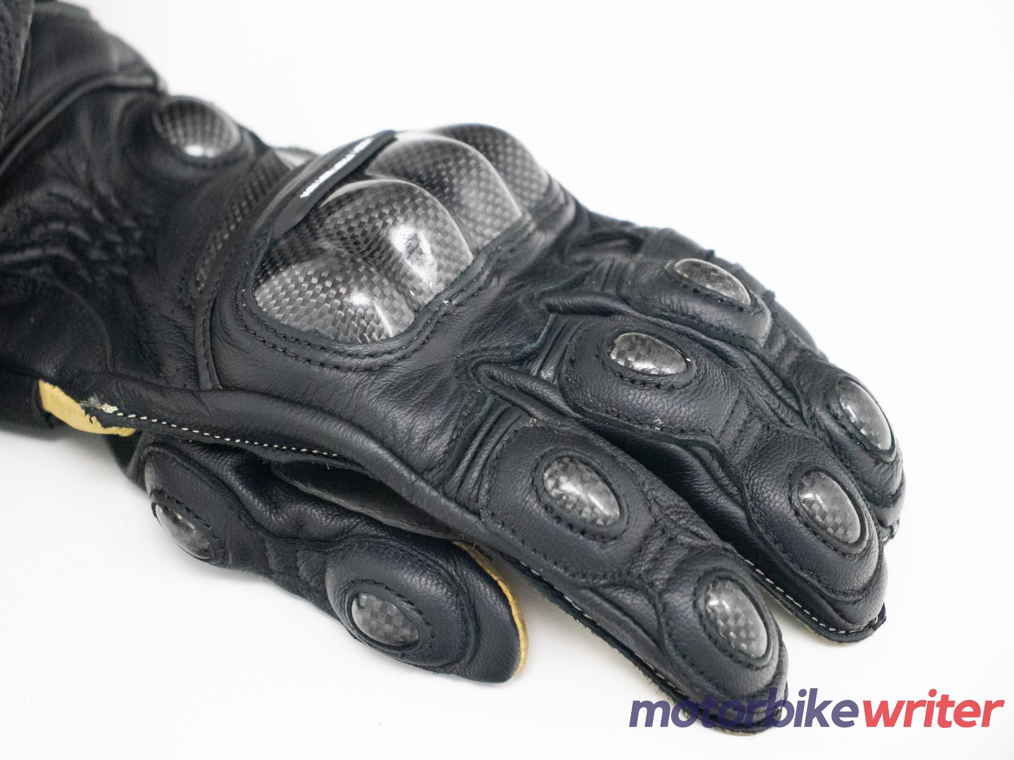 Carbon fiber knuckle protectors on High Racer gloves