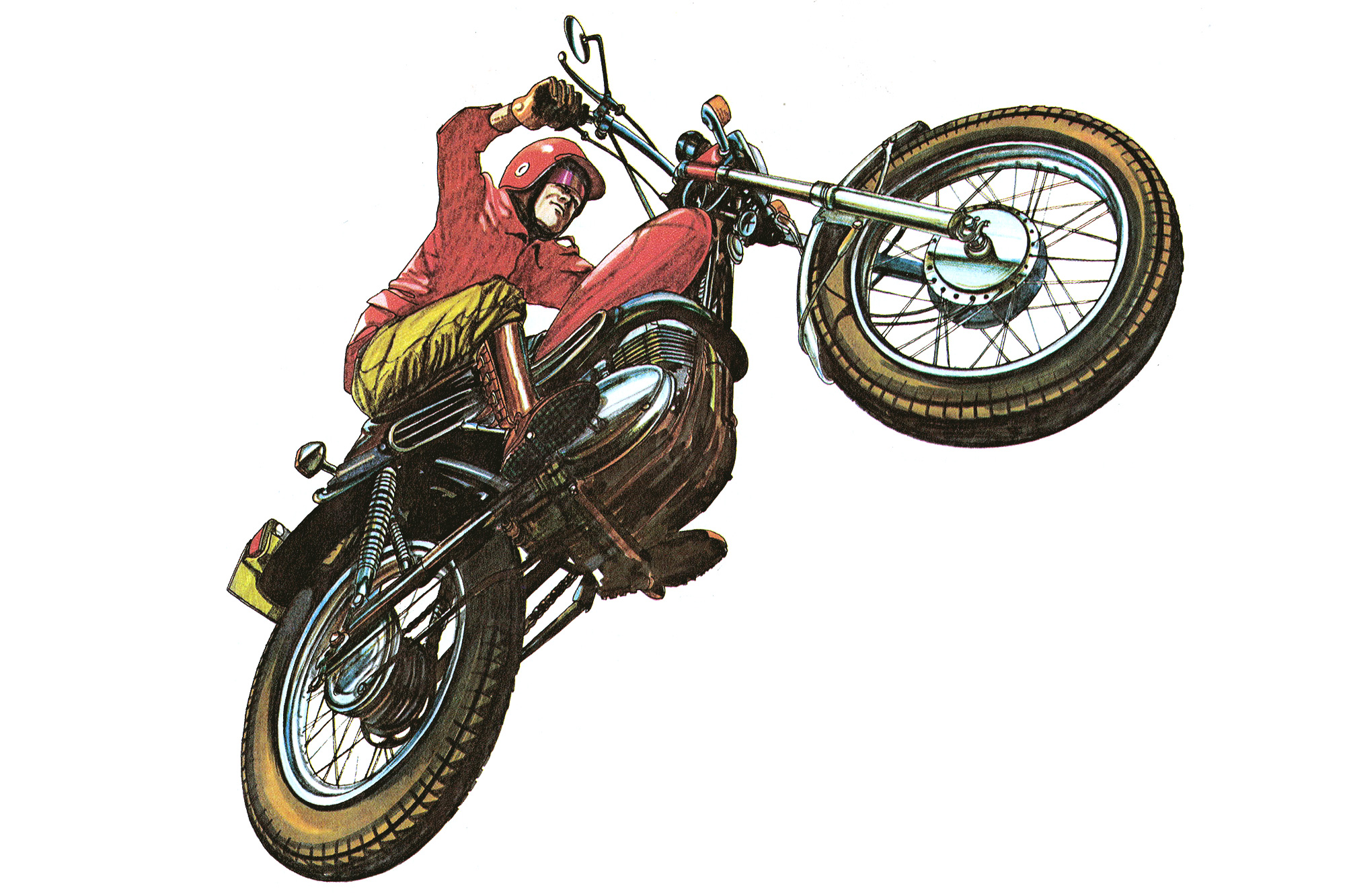 Illustration of a 1970s Aussie Enduro Rider and motorcycle