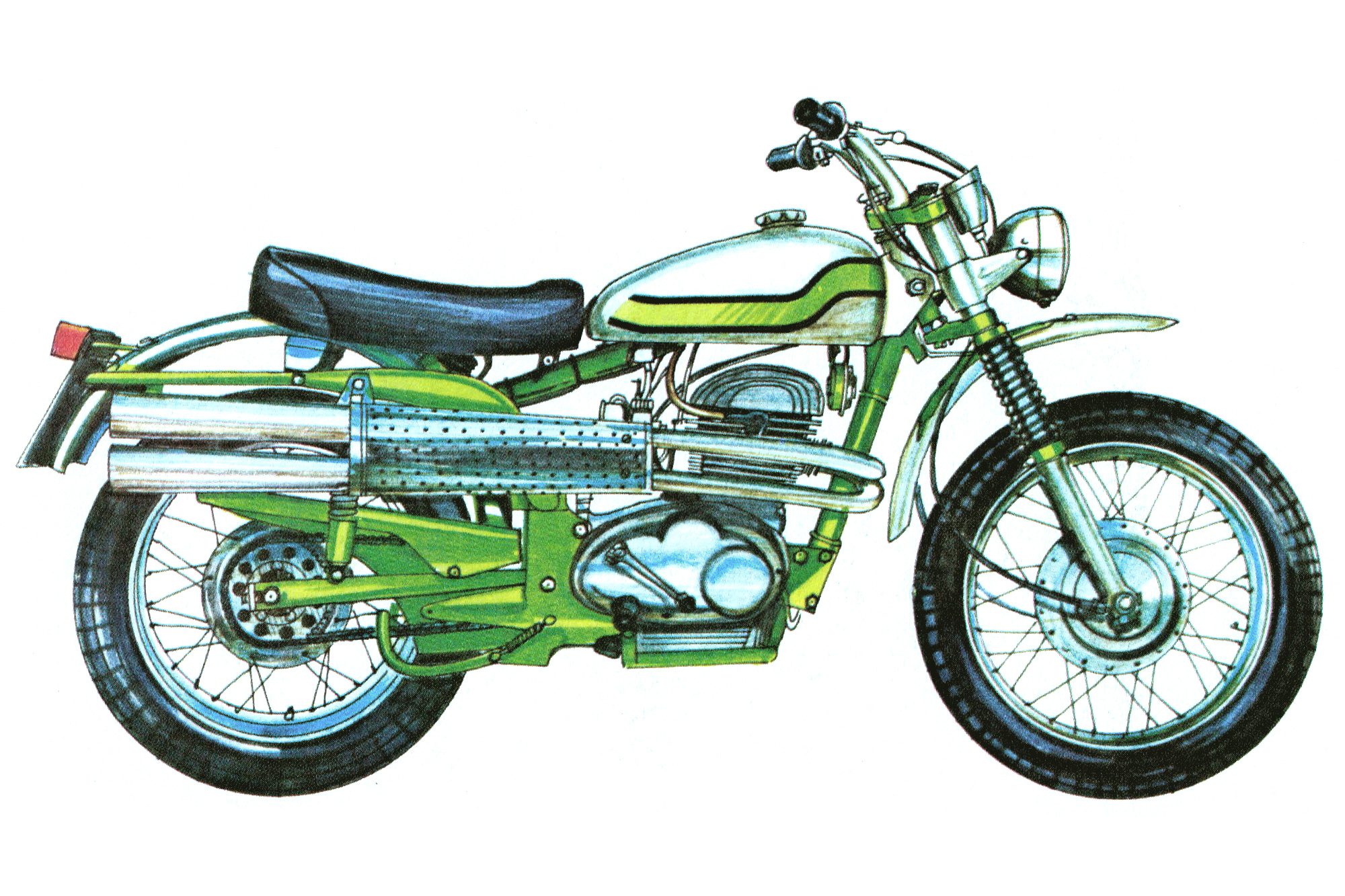 Illustration of a 1970s Aussie enduro motorcycle with scrambler pipes