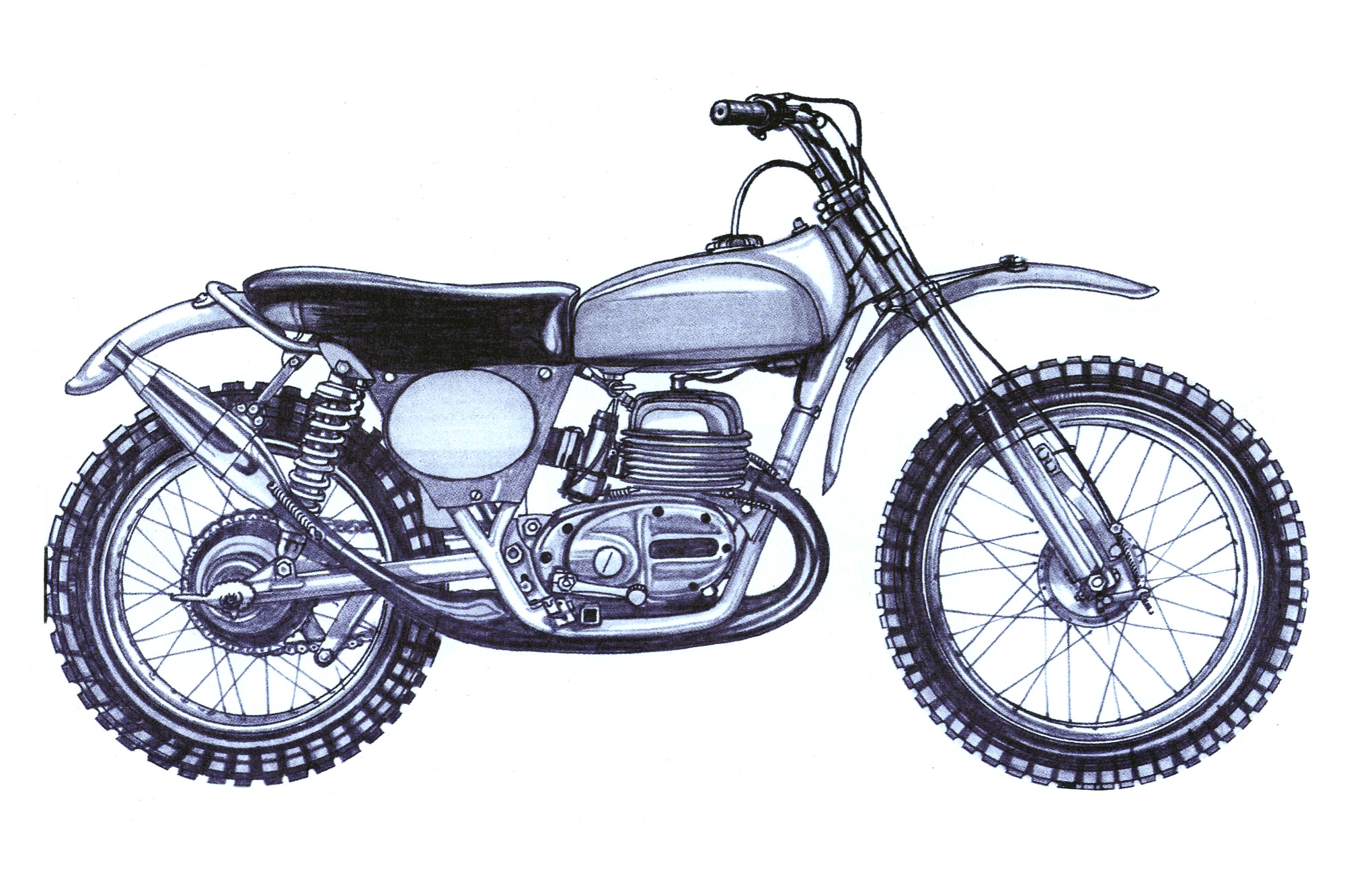 an illustration of an old Australian moto-cross bike