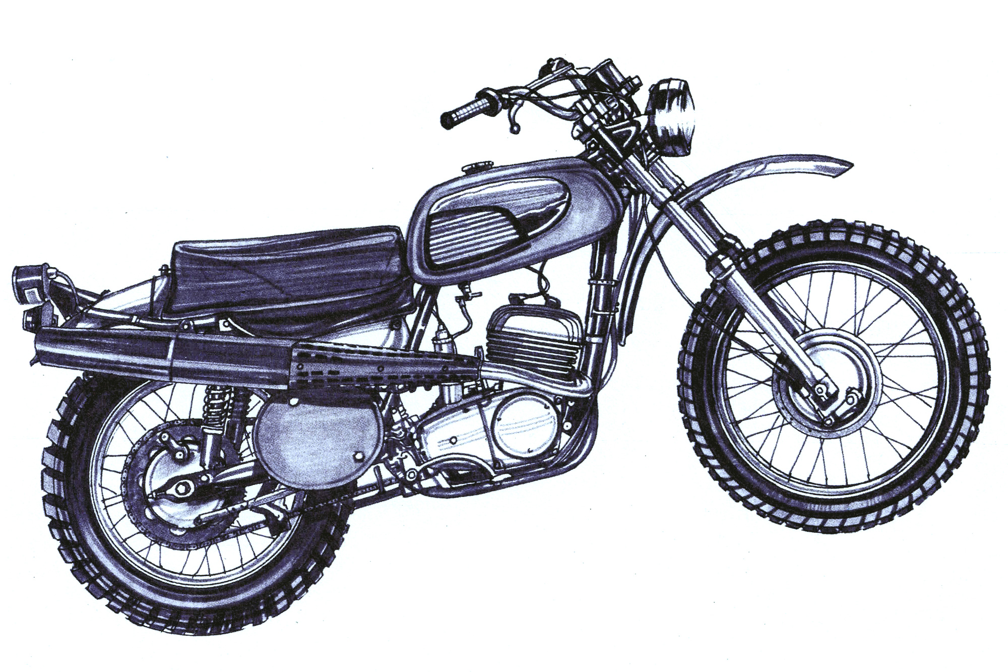 An illustration of a '70s trail motorcycle