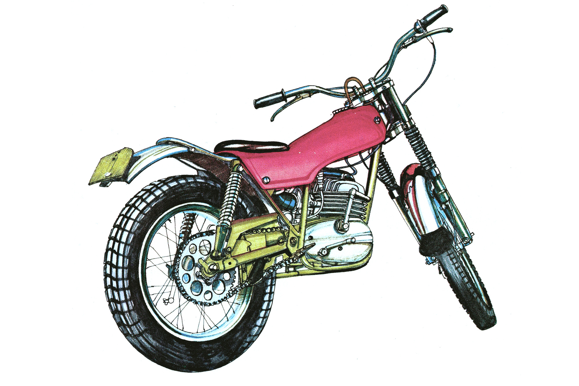 An illustration of a 1970s pink sporting trials motorcycle