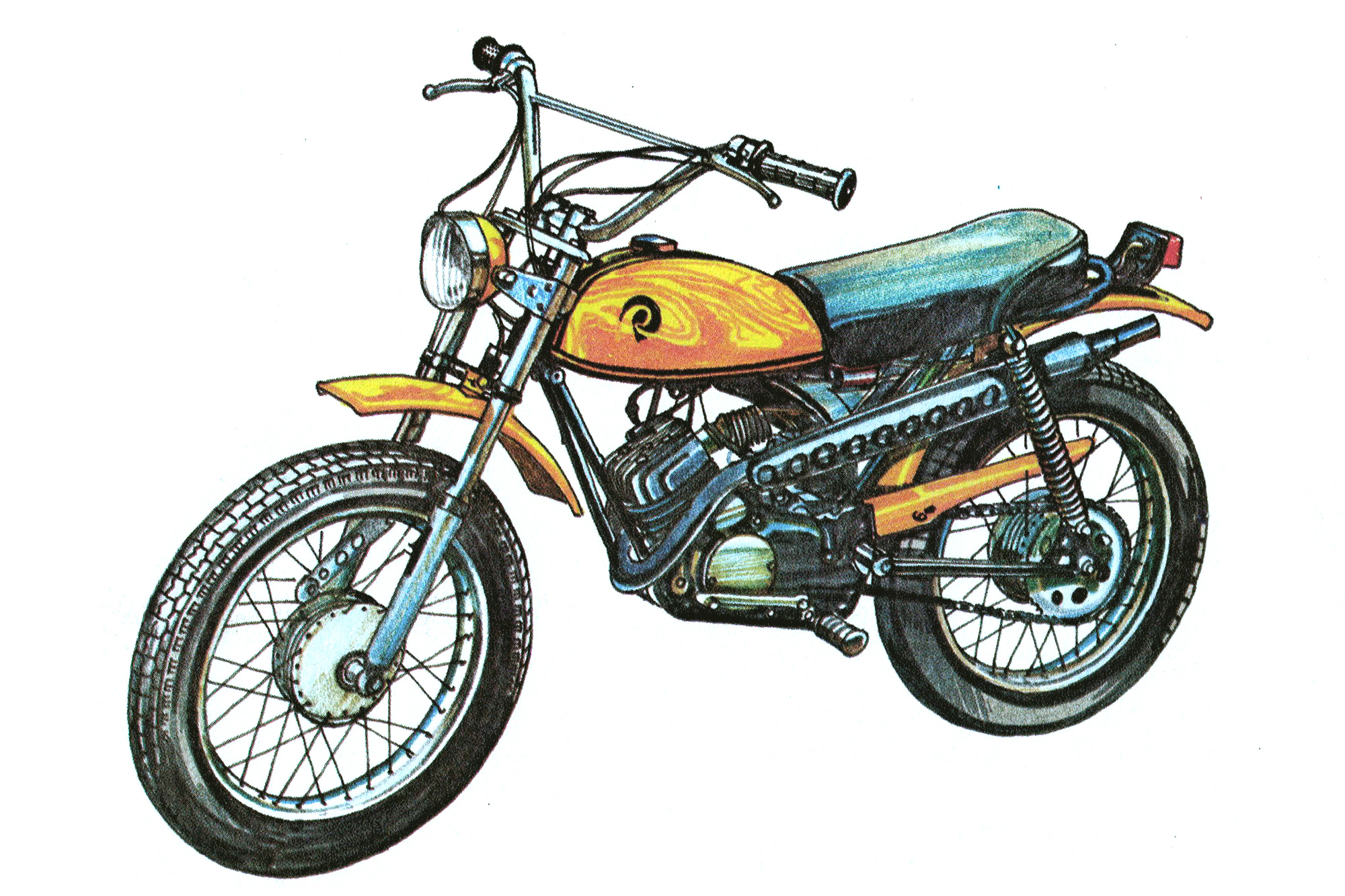 An illustration of a 1970s minibike