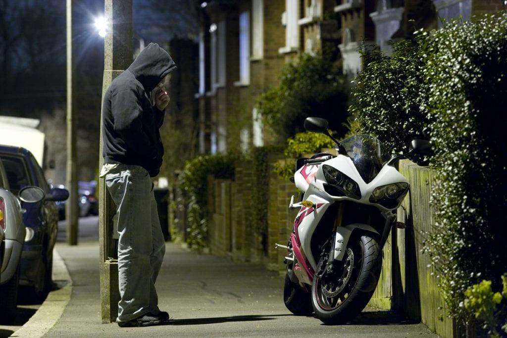 a motorcycle in danger of being stolen