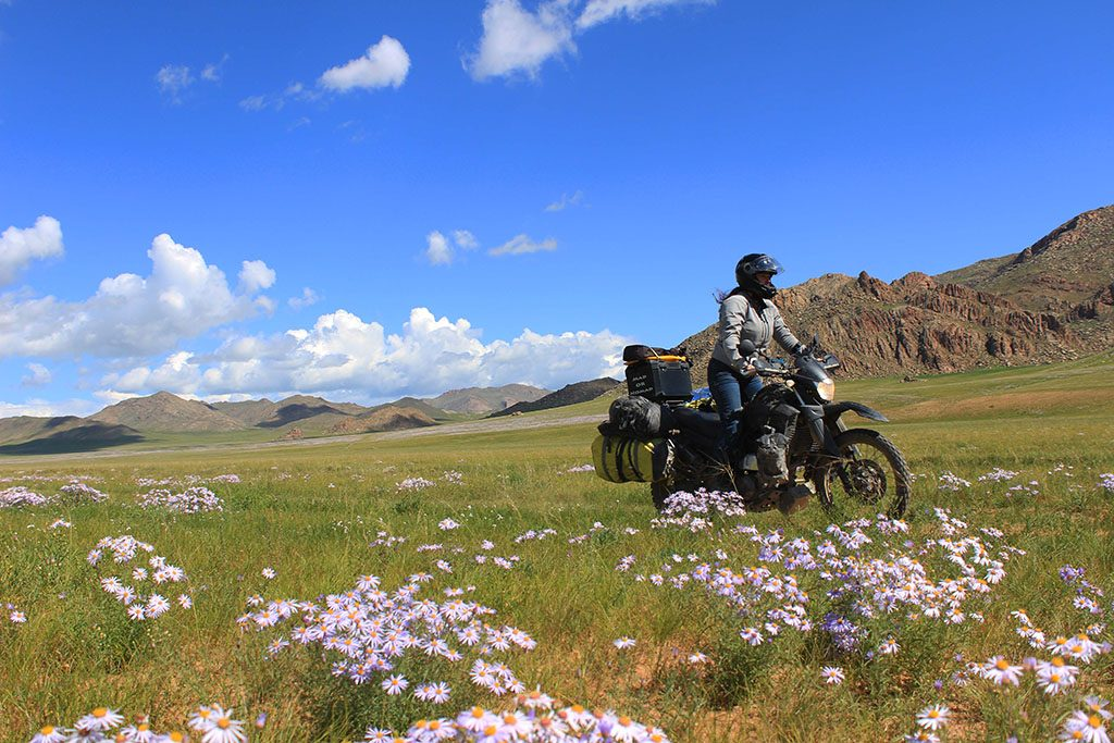 a female rider travelling through a field of grass on her motorcycle in Mongolia