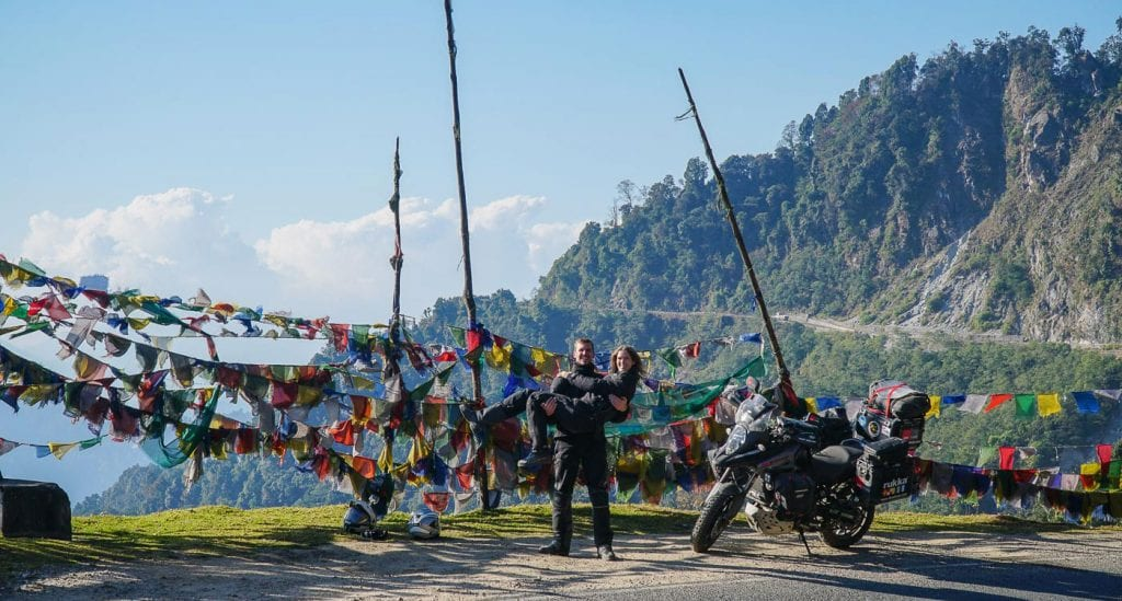 A rider experiences the iconic landmarks of Bhutan