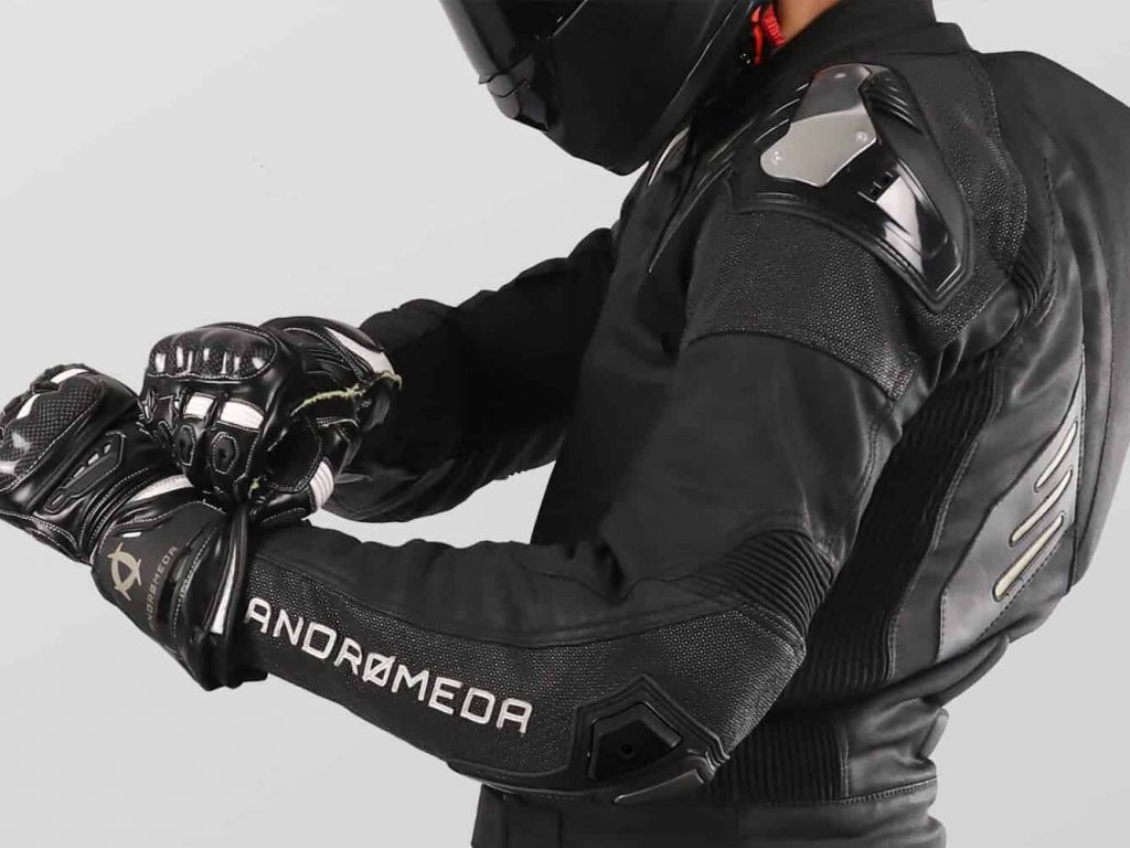 A side view of the elbow of the Andromeda NearX motorcycle suit
