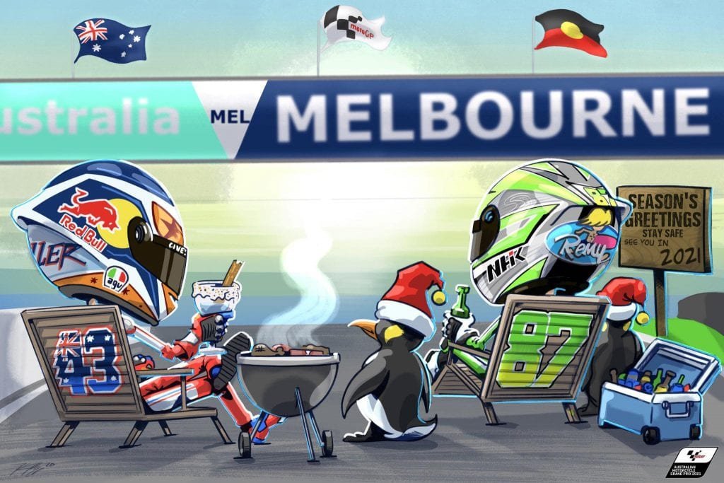 cartoon caricatures of Jack Miller and Remy Gardner waiting for the next MotoGP Race