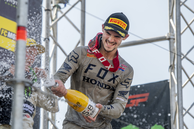 Tim Gasjer from Team HRC takes the overall win at the MXGP in Netherlands