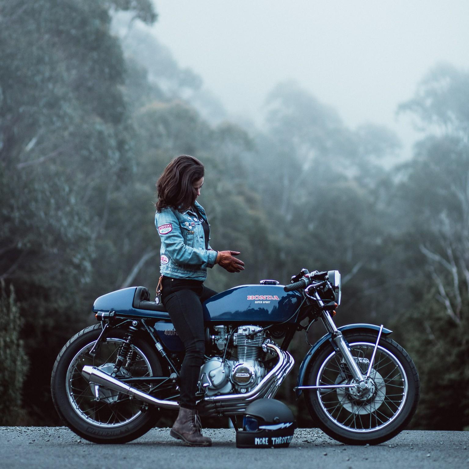 Woman on her 1976 Honda CB400F Motorcycle in Tasmania