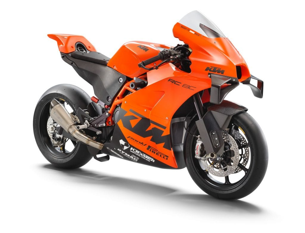 A front-right view of the all-new track-only 2022 KTM RC 8C