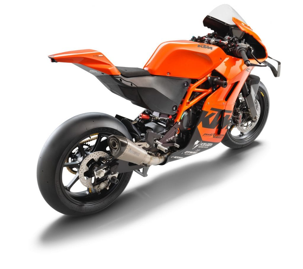 A back-right view of the all-new track-only 2022 KTM RC 8C