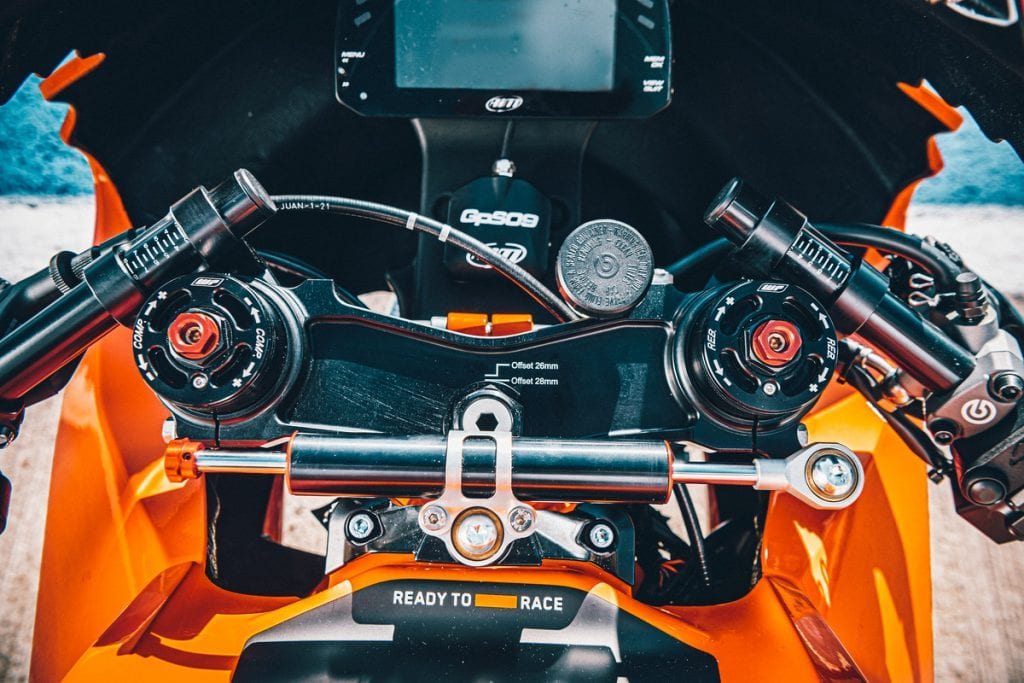 A view from above of the all-new track-only 2022 KTM RC 8C