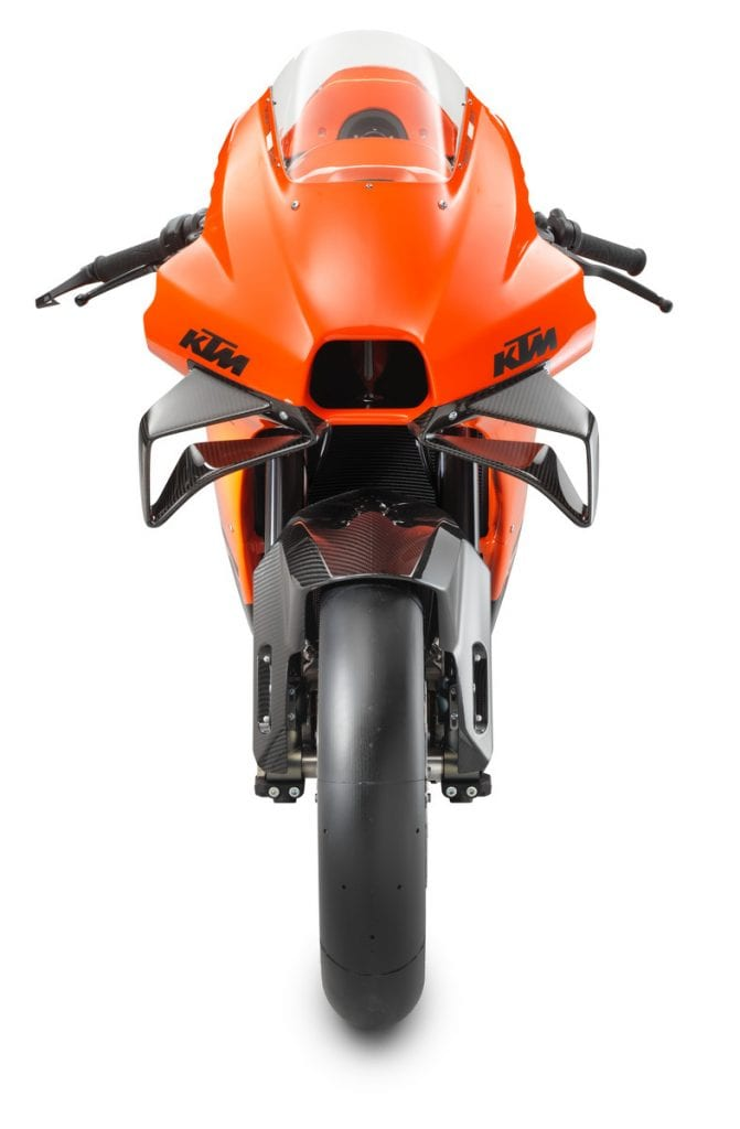 A front view of the all-new track-only 2022 KTM RC 8C