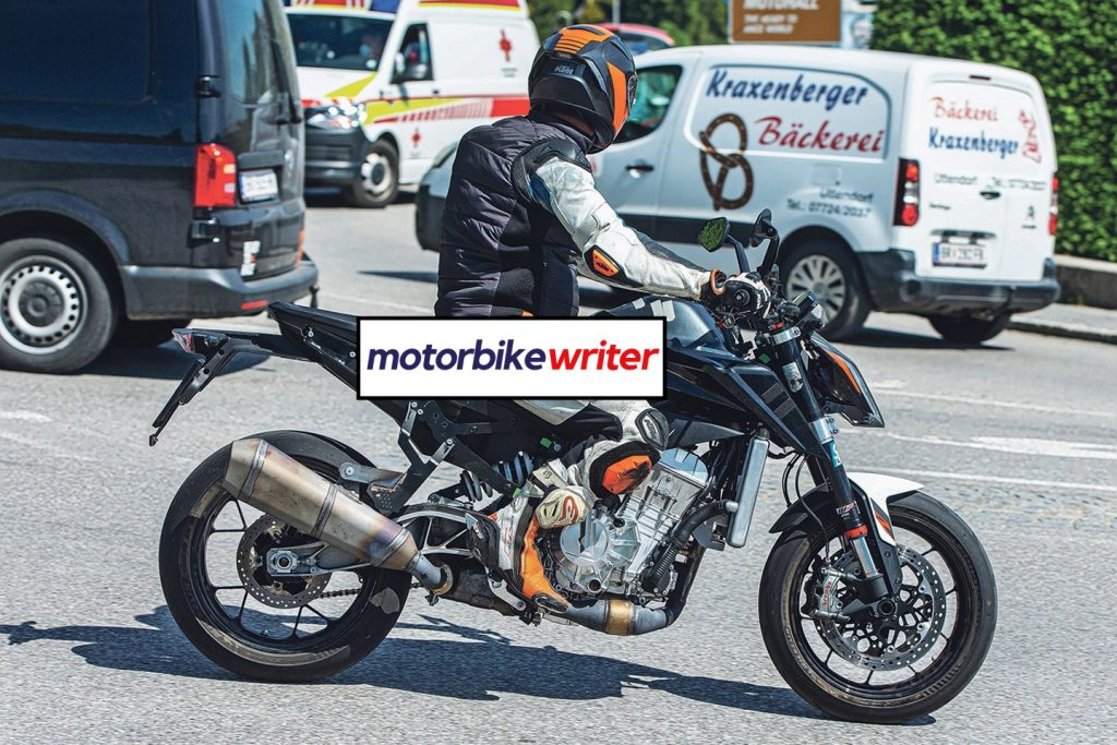a back right view of spy shots taken of a new KTM machine