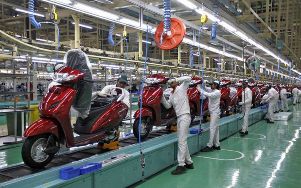 a view of the Honda Motorcycle and Scooter India plant in Gujarat