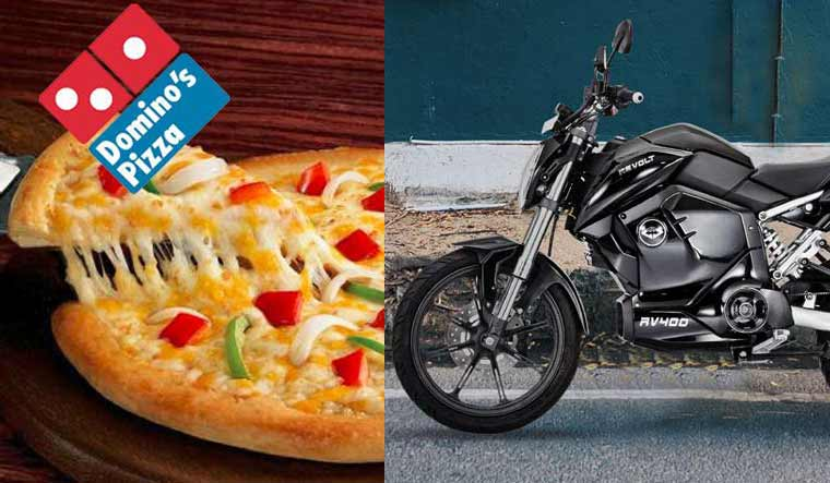a bi-split image showing that the RV300 motorcycle from Revolt Motors will be sold to Dominos for delivery motorcycles