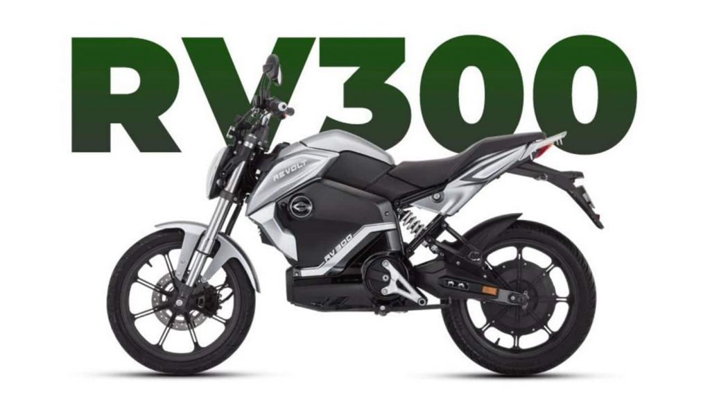 a side view of the electric motorcycle, the RV300, from Revolt Motors
