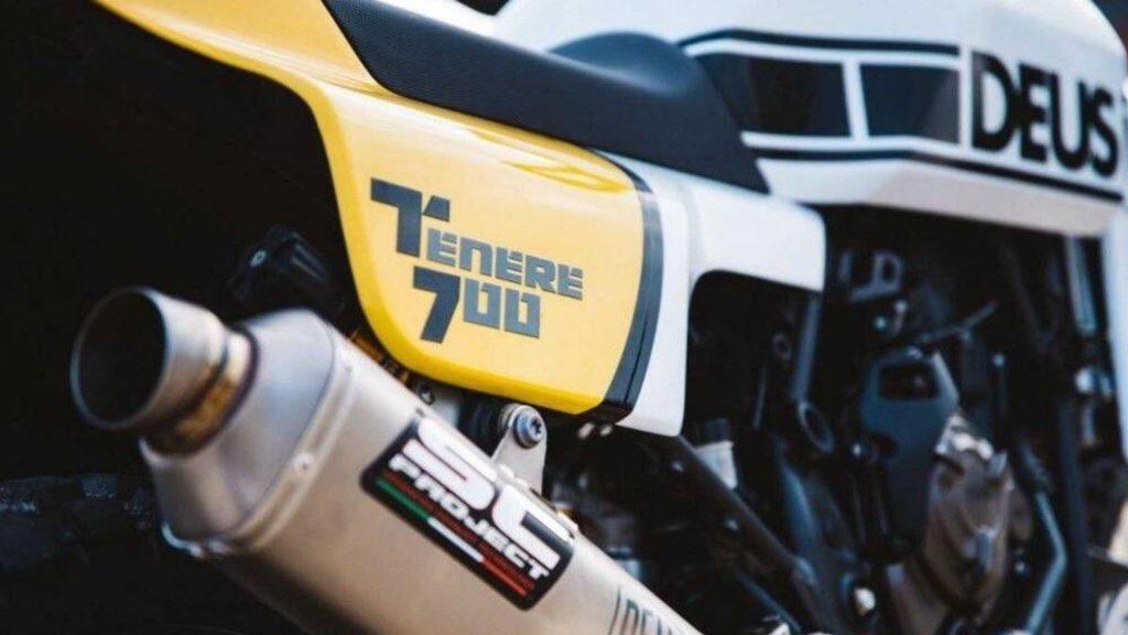 A close-up of the custom SC project exhaust on the custom Yamaha Ténéré 700, created by Deus Italia